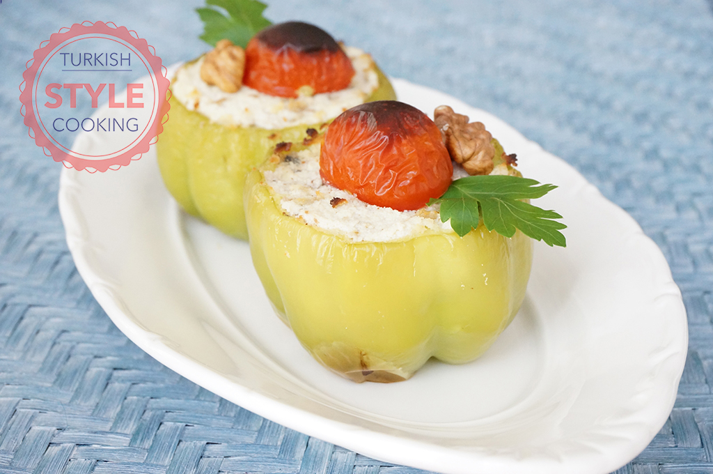Feta Cheese Stuffed Bell Pepper - Turkish Style Cooking