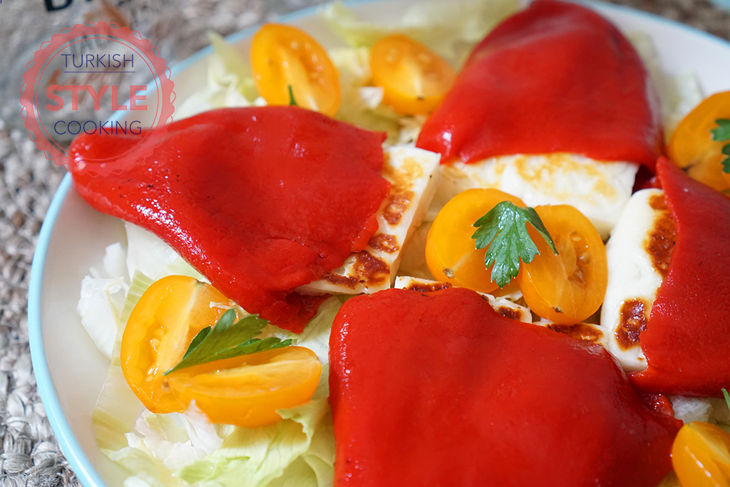 Halloumi Cheese Filled Roasted Red Pepper Recipe