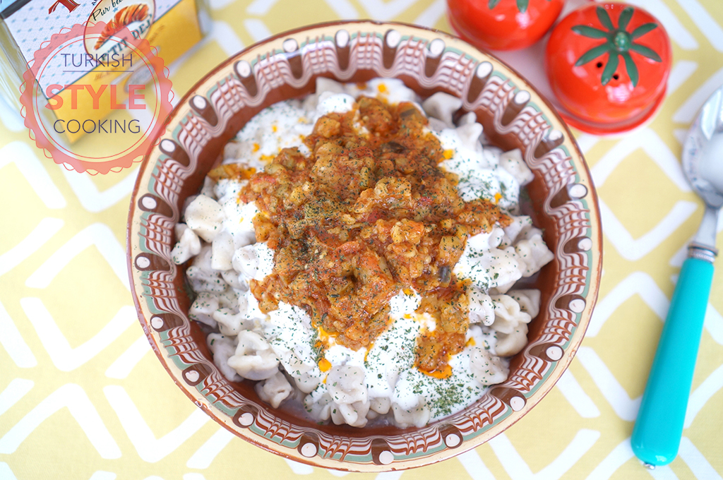 Eggplant Sauce Manti Recipe - Turkish Style Cooking