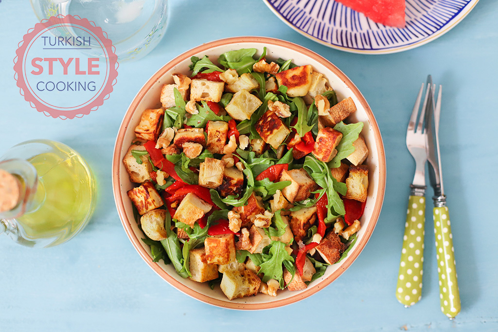 Rocket Salad With Halloumi Cheese